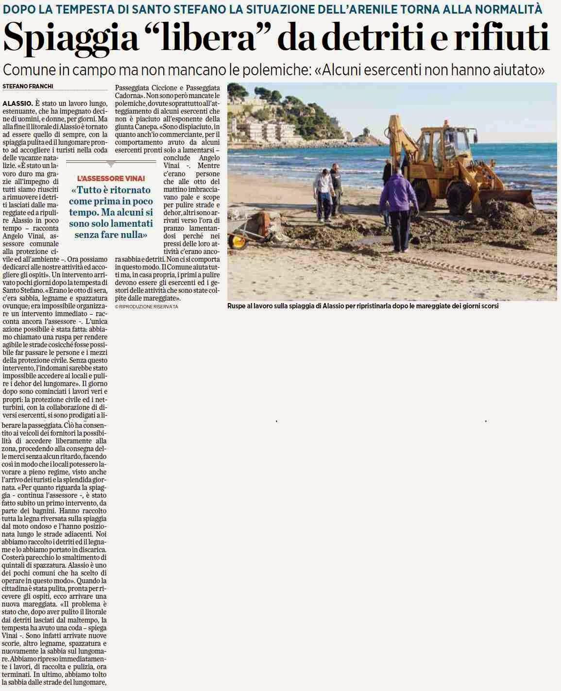 Alassiofutura alassio spiaggia libera da detriti for Diretta da montecitorio