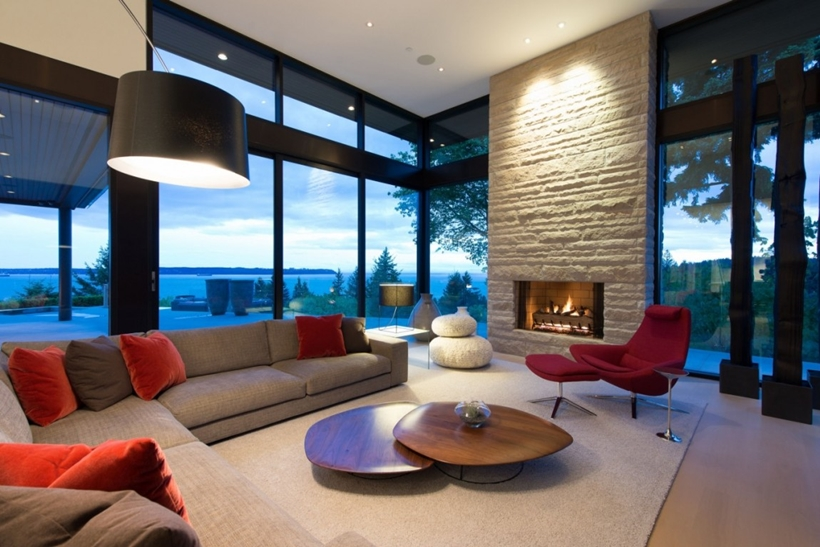 Living room in Elegant modern house in west Vancouver, Canada