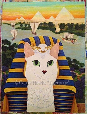 "King of Pentacles, ""Pharaoh Cat"" for the 78 Tarot Nautical Deck"
