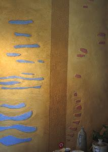tableau de terre, incrustation de chaux et un petit peu de couleur