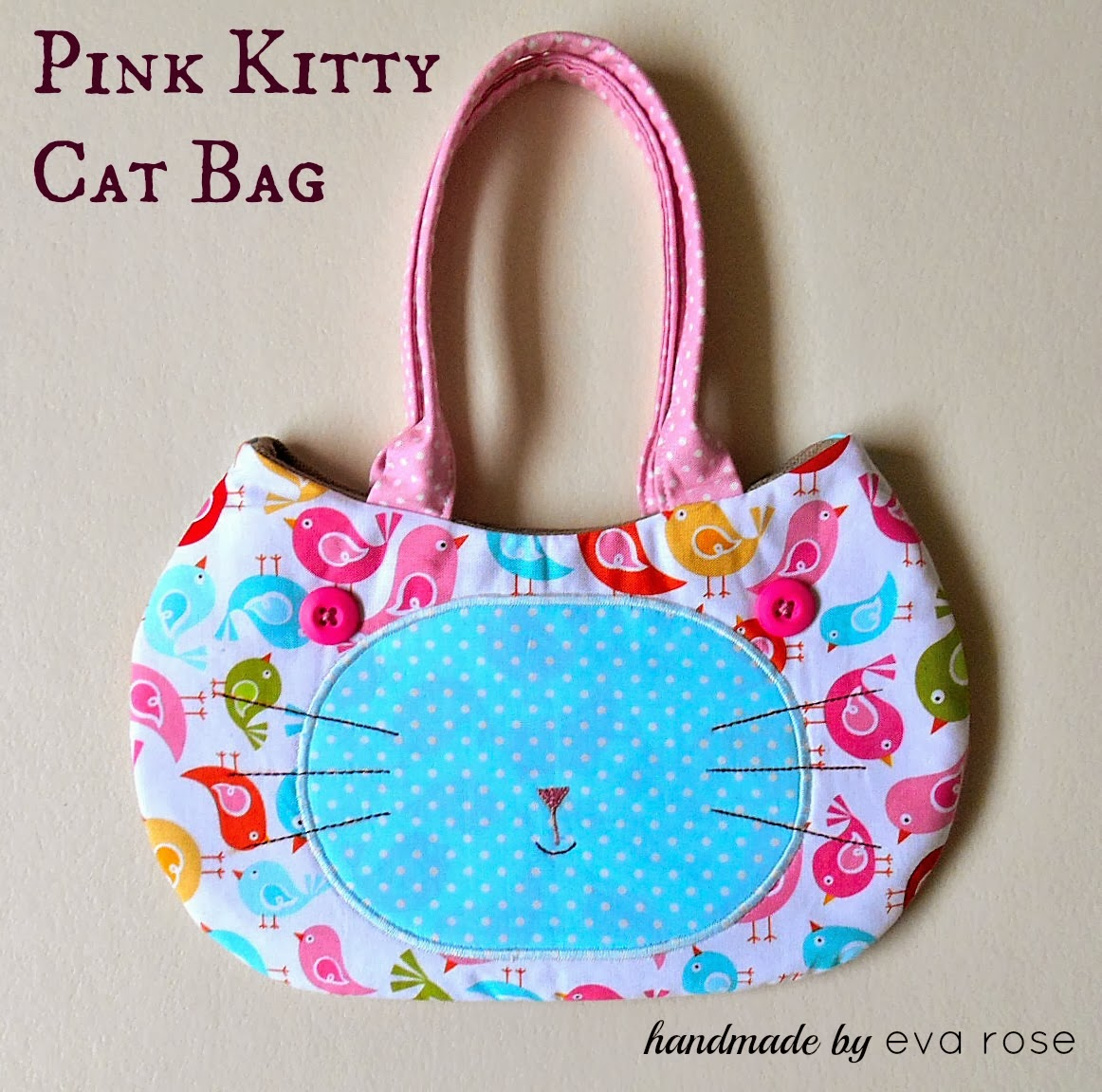 cat face little girls purse pink and white