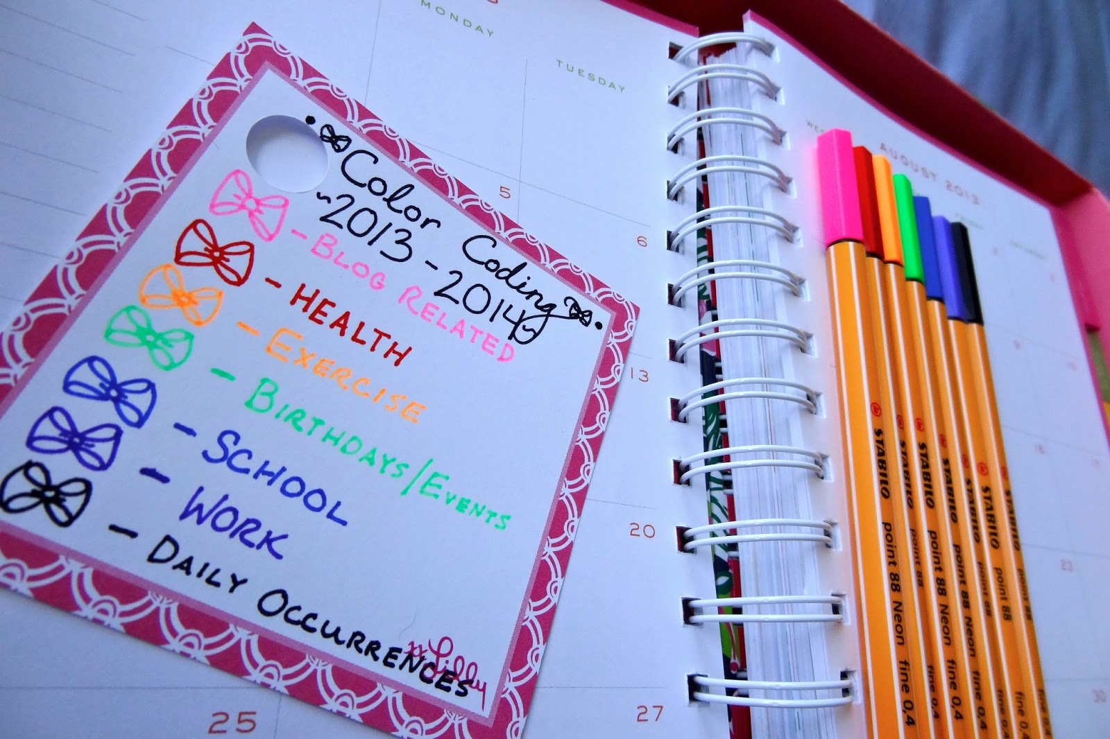 How i organize my lilly agenda bowtiful life for Color coding planner