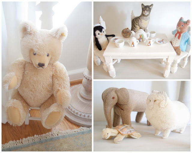 Tea set, stuffed animals; Baby nursery; Nursery in the Nest; Nora's Nest