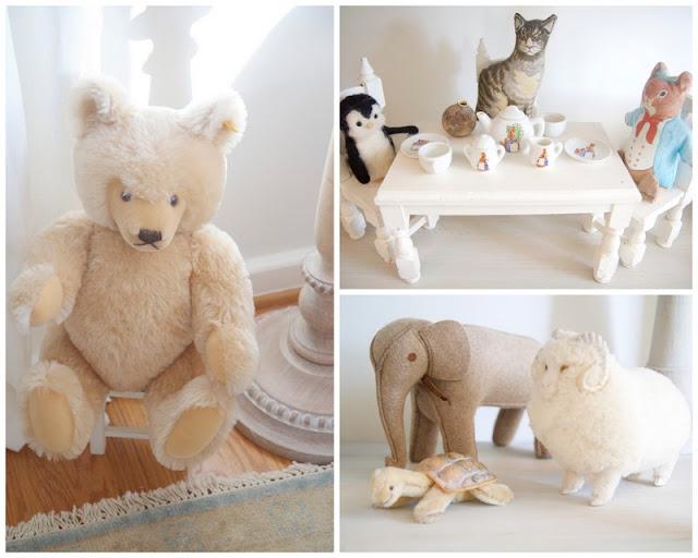 Tea set, stuffed animals; Baby nursery; Nursery in the Nest; Nora's Nest