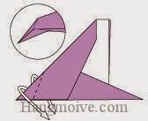 Bước 7: Gấp lộn ngược lớp giấy xuống dưới.