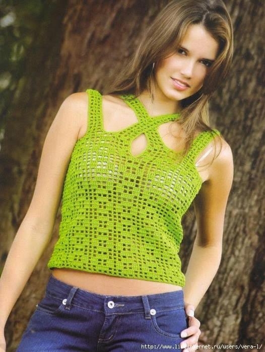 Blusa con breteles cruzados crochet fácil