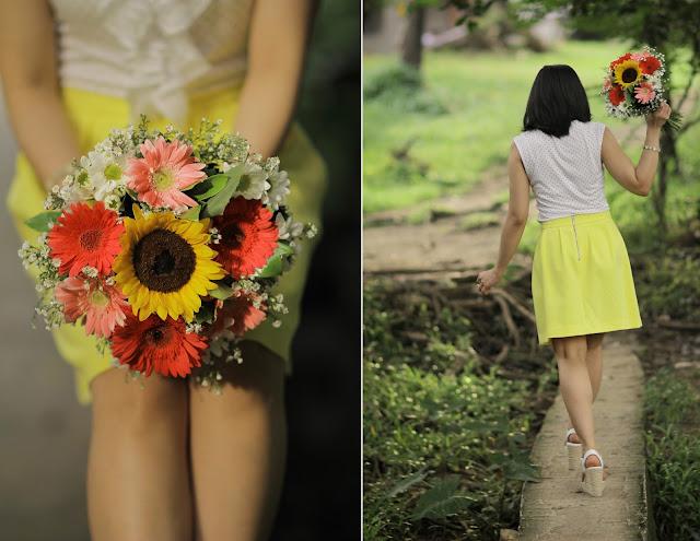 sunflower, summer outfit, bouquet, anniversary