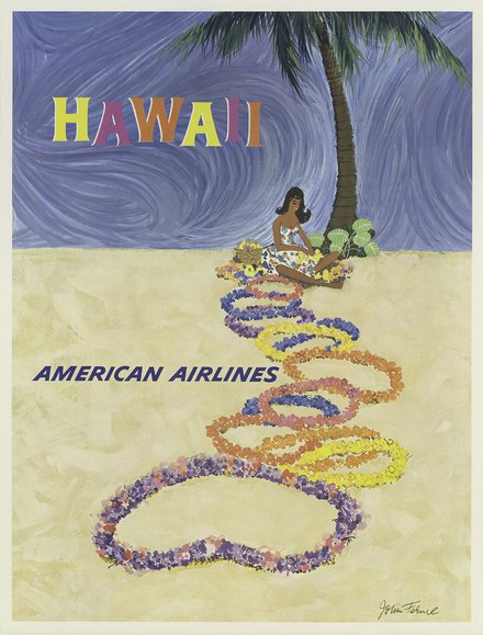 free printable, printable, classic posters, free download, graphic design, retro prints, travel, travel posters, vintage, vintage posters, Hawaii American Airlines - Vintage Travel Posters