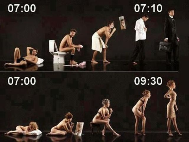 20 Hilarious But True Differences Between Men And Women - On getting ready for work