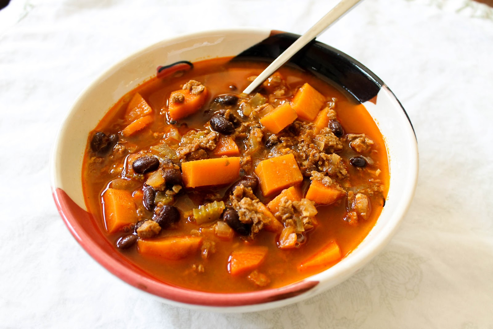 The Quixotic Table: SoyRizo Soup with Sweet Potatoes and Black Beans
