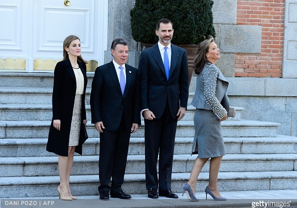 Queen Letizia of Spain and King Felipe VI of Spain receives the President of Colombia Juan Manuel Santos and Maria Clemencia Rodriguez de Santos at El Pardo Royal Palace on March 1, 2015 in Madrid, Spain.
