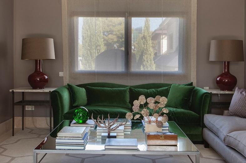 sofa terciopelo verde