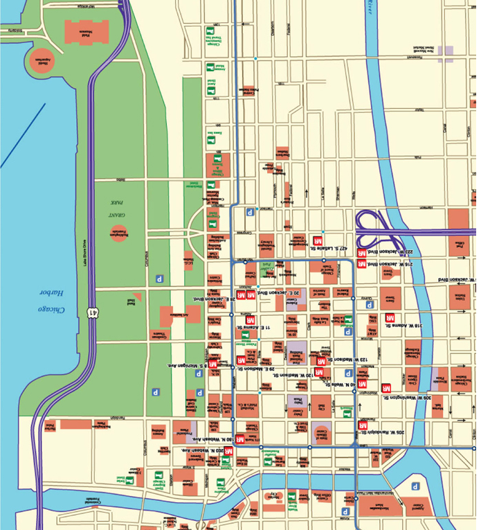 19 Downtown Chicago Map  Pete Seaward Chicago Night