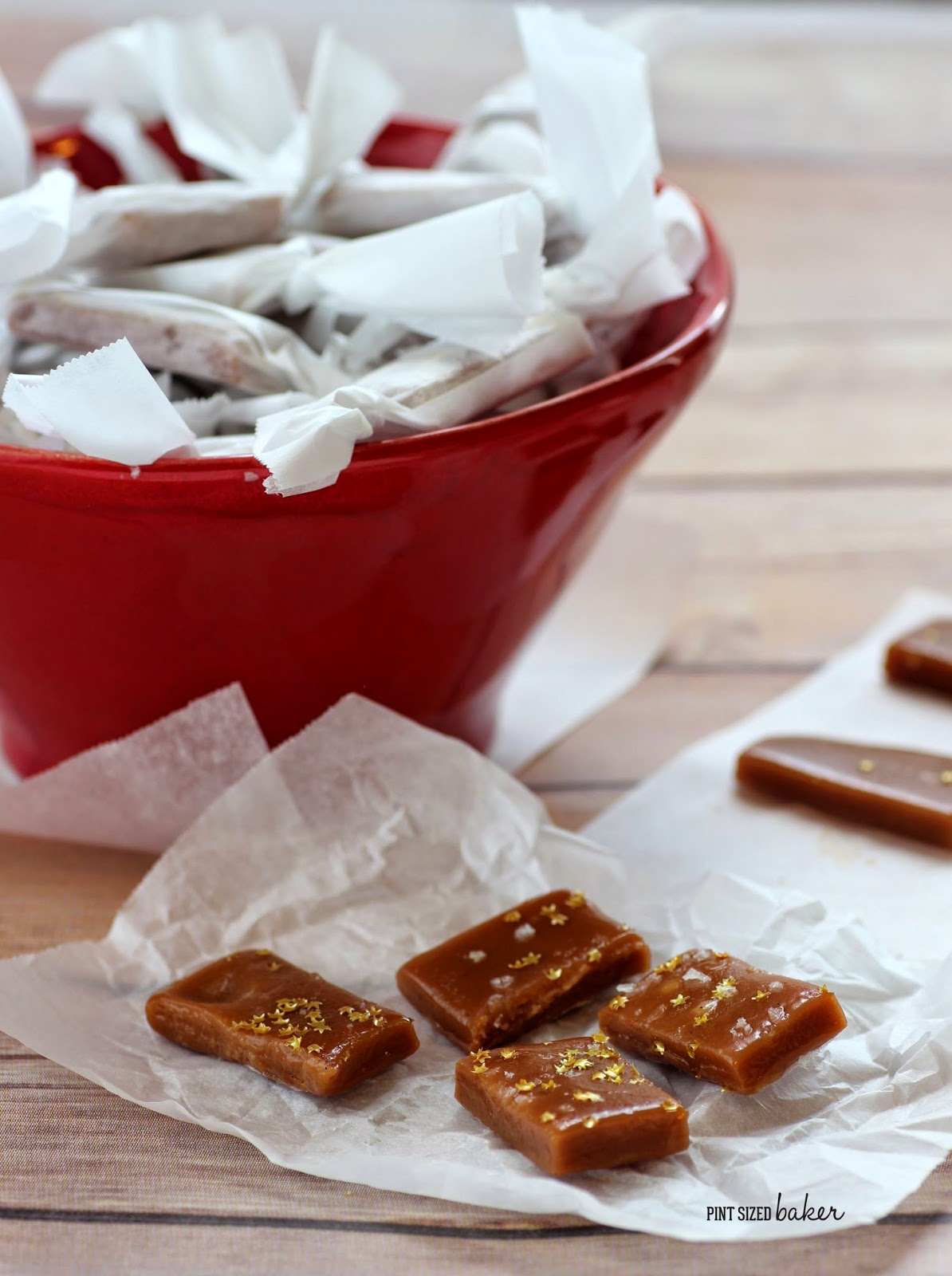 These easy Holiday Caramels are super easy to make and taste delicious! They are perfect for the holidays and make great gifts!