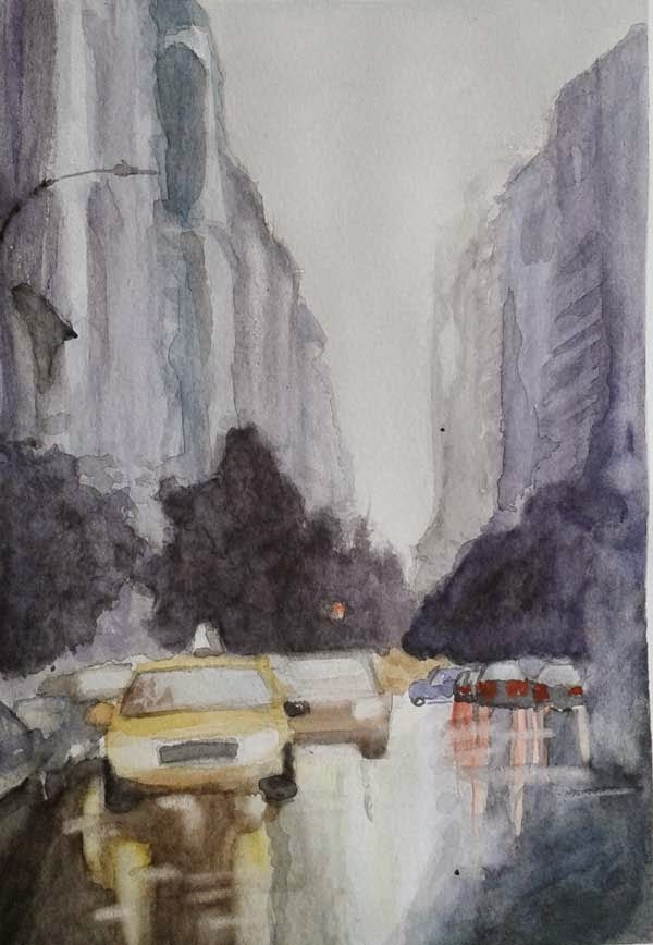 paisaje urbano watercolor