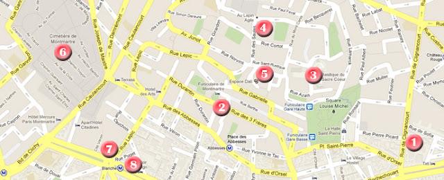 Mapa de la ruta por París, día 2