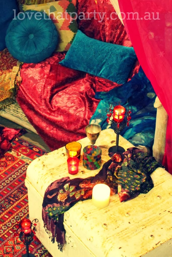 Valentine's Date Night In: Arabian Nights. Such a fun and romantic idea to set up in the backyard!