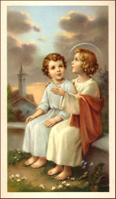 postales religiosas antiguas del Niño Jesús