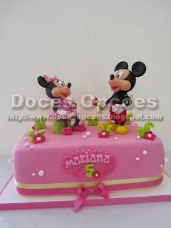 Bolo com a Minnie e o Mickey para o 5º aniversário da Mariana