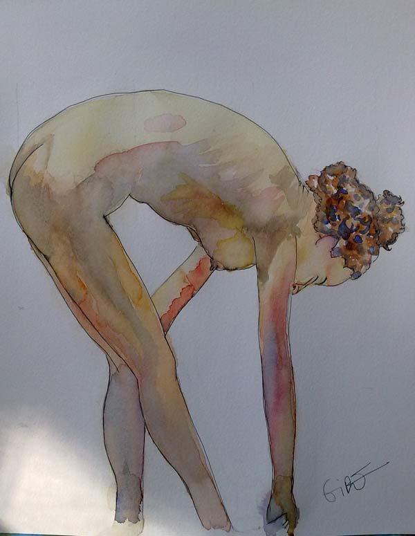 desnudo femenino en acuarela
