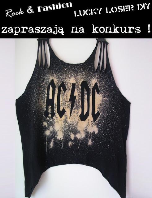 diy rock ac dc koszulka cięta moda trendy konkurs rozdanie