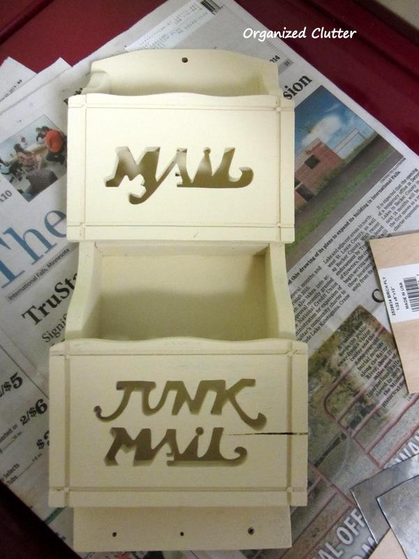 Thrift Shop Mail Organizer Makeover www.organizedclutterqueen.blogspot.com