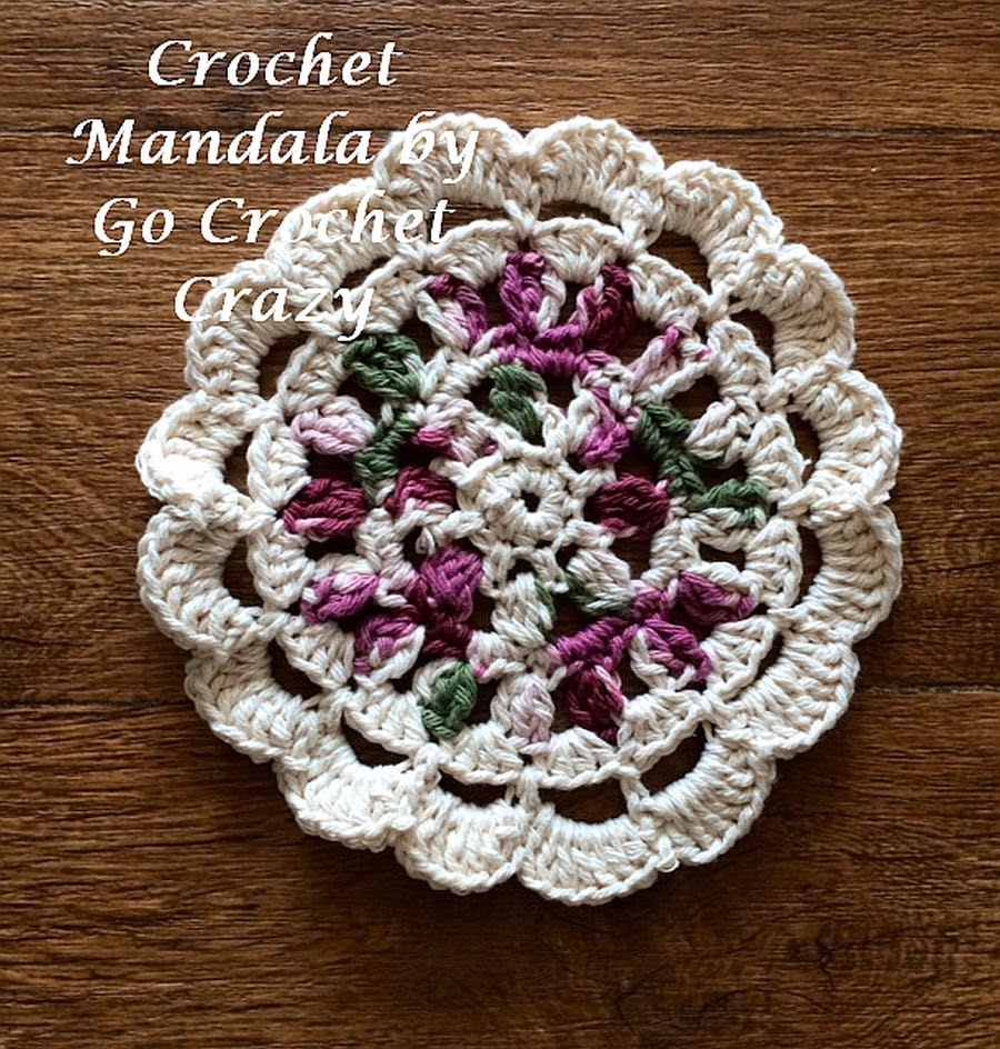 Crochet Mandala by Go Crochet Crazy, to be used as a potholder.