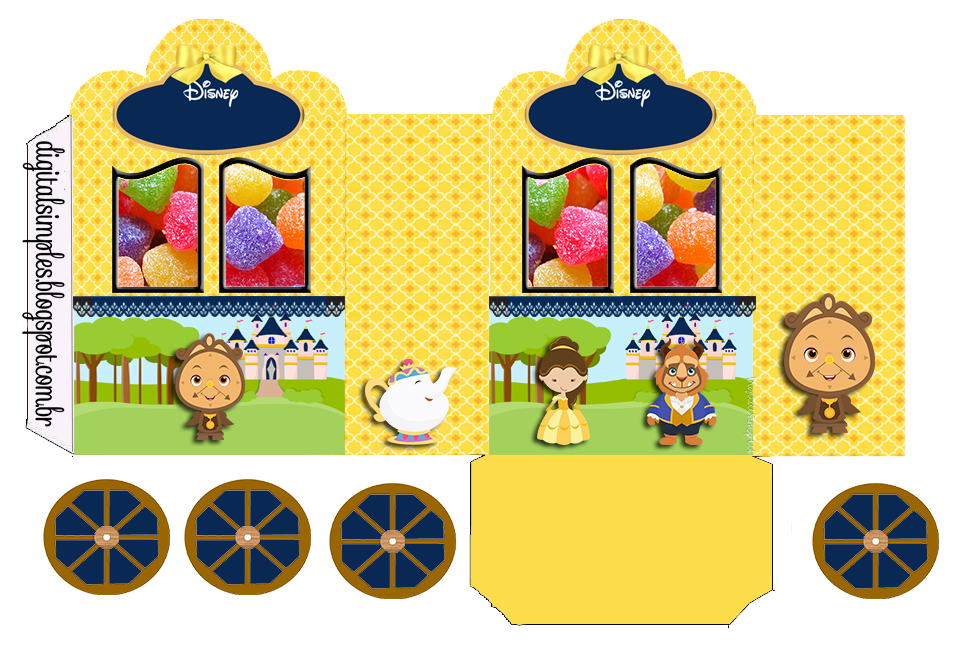 Beauty and the Beast: Princess Carriage Shaped Free Printable Boxes.