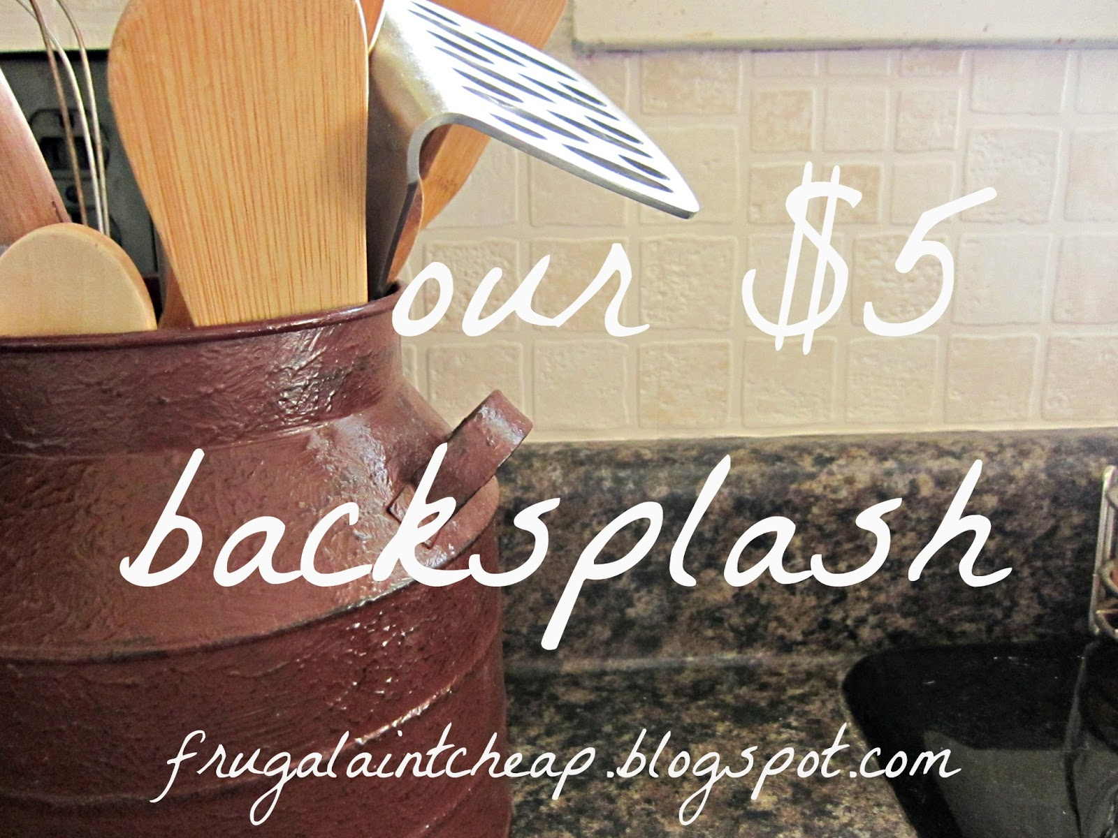 Frugal ain39t cheap kitchen backsplash great for renters too for Cheap kitchen backsplash diy