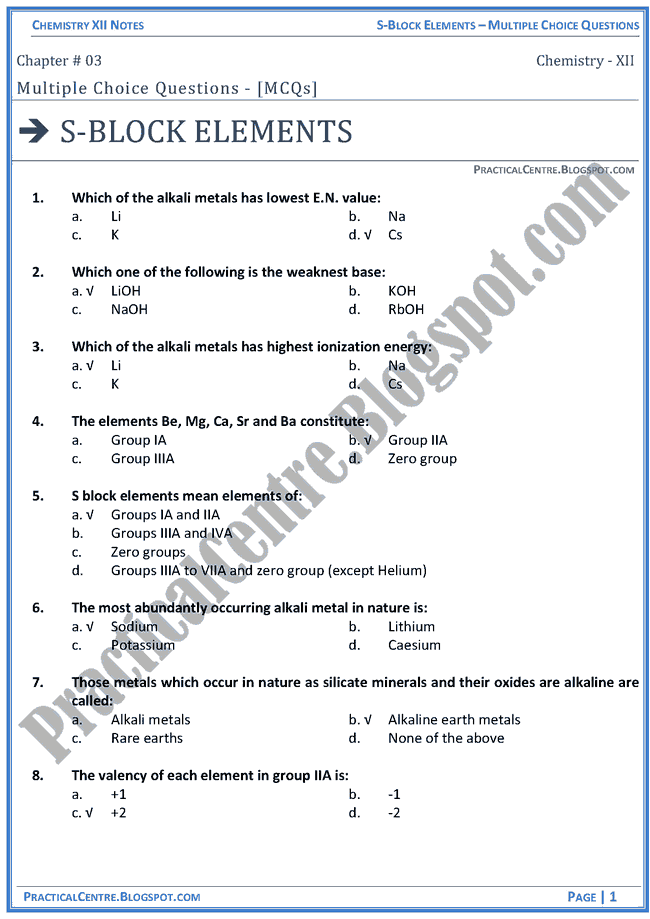 s-block-elements-mcqs-chemistry-12th