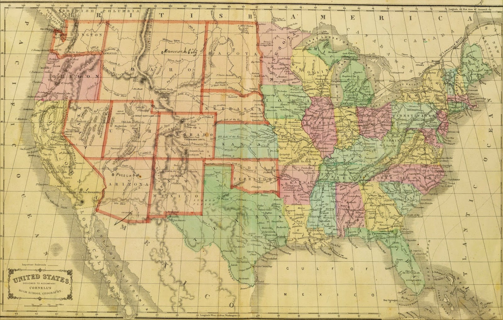 Map of the United States by Cornell (1864)
