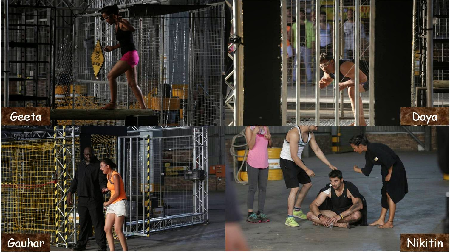 Khatron Ke Khiladi contestants Geeta, Daya, Gauhar and Nikitin during and after electric Shock Therapy stunt