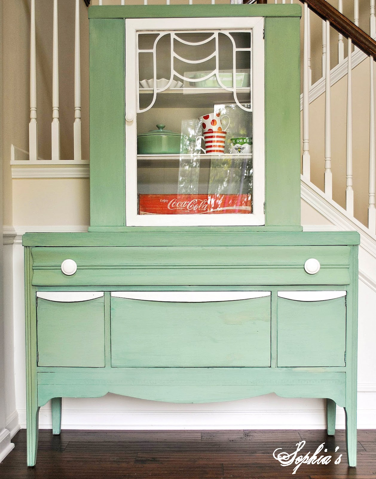 Sophia's: Luckett's Green Milk Paint Cabinet