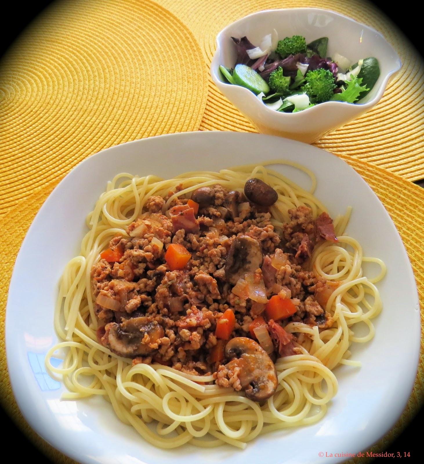 la cuisine de messidor sauce spaghetti la bi re et au prosciutto. Black Bedroom Furniture Sets. Home Design Ideas