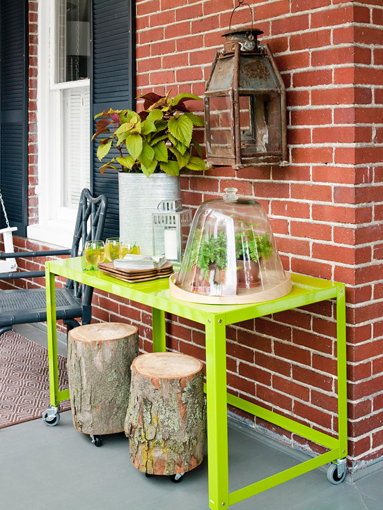 Modern furniture front porch makeovers for summer 2013 for Front porch table ideas