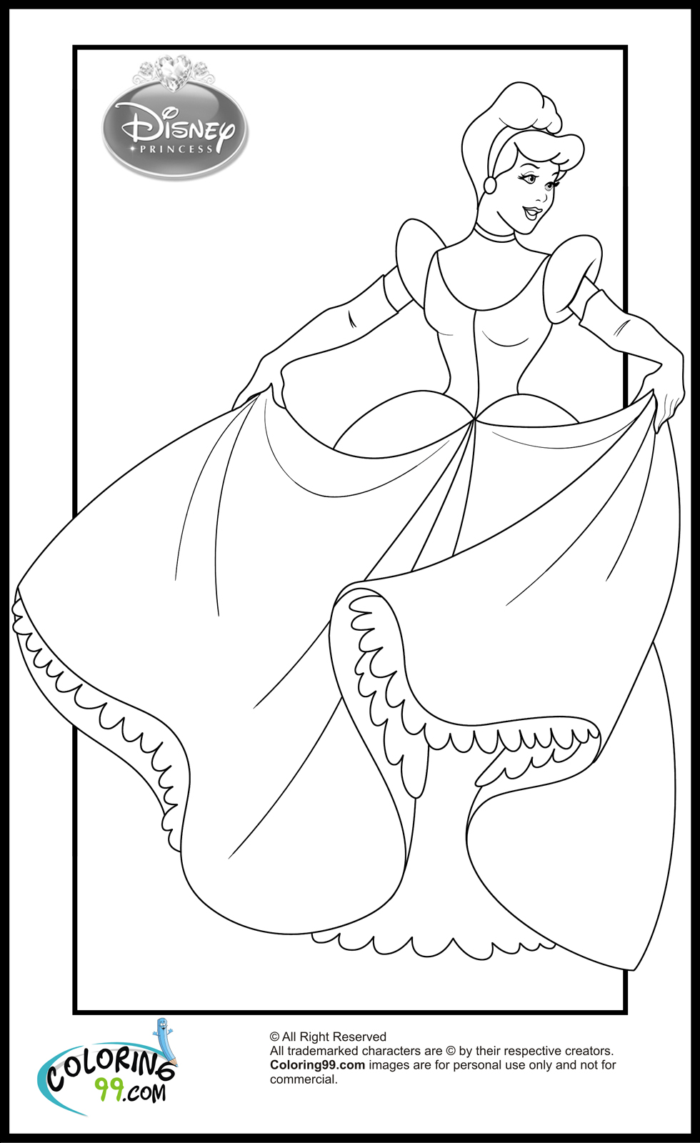 cinderella coloring pages to print
