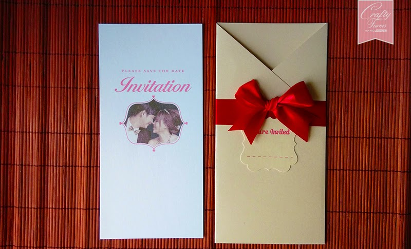 Typography Pocket Wedding Card with Classy Red Ribbon and Wedding Photo