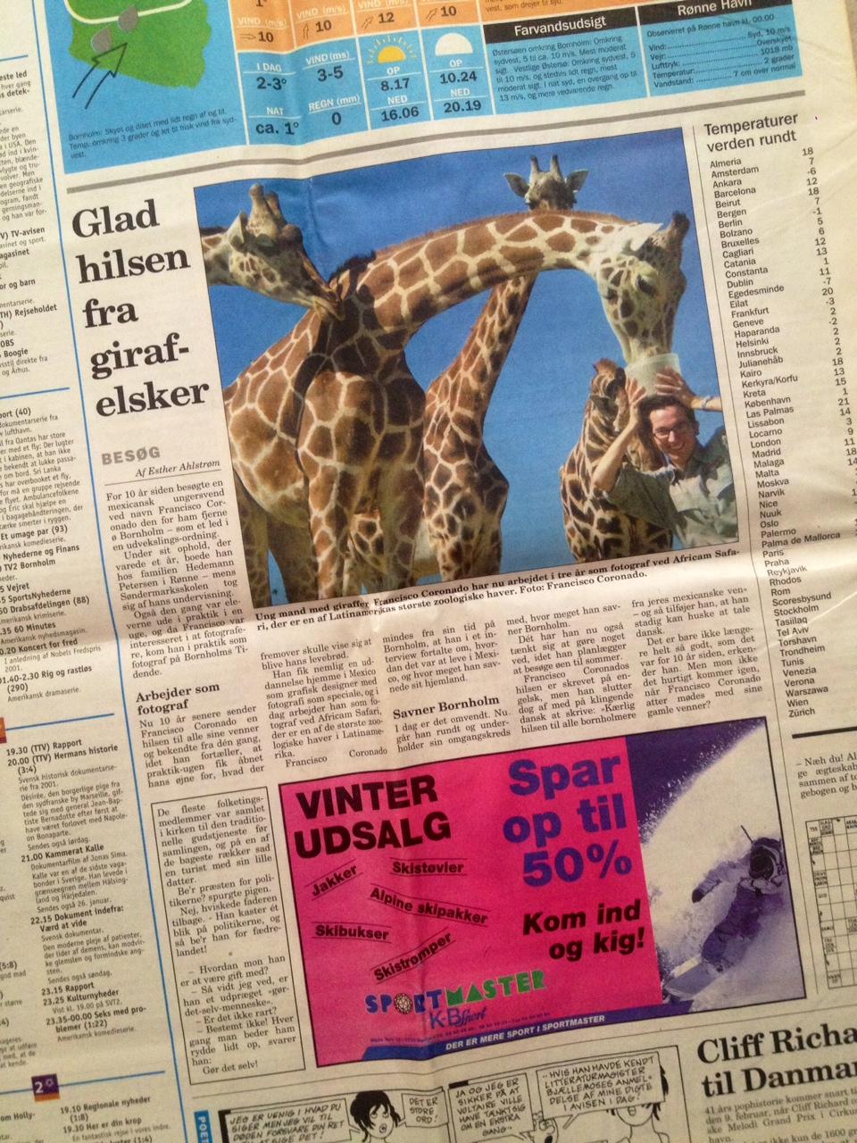 nota periodico con jirafas