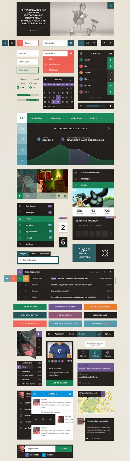 Free Square UI Kit PSD