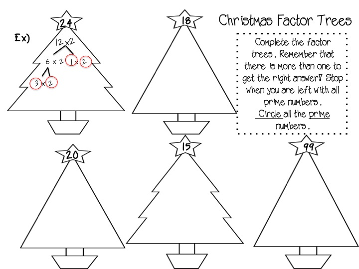 Factor trees worksheets tes