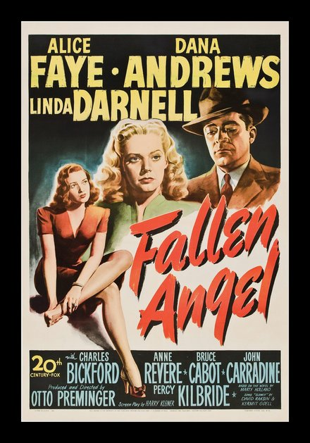movies, theater, vintage, vintage posters, graphic design, free download, retro prints, classic posters, Fallen Angel, Alice Faye, Dana Andrews, Linda Darnell - Vintage Movie Poster