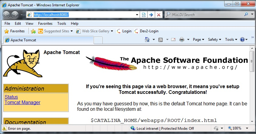 apache tomcate home page image