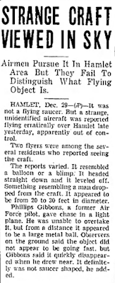 Strange Craft Viewed in Sky - The Gastonia Gazette (North Carolina) 12-29-1949