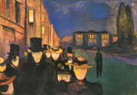 Edvard Munch -Atardecer en el paseo Karl Johann (1892)