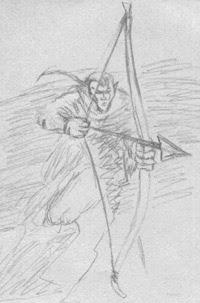 Long Bow Man Drawing