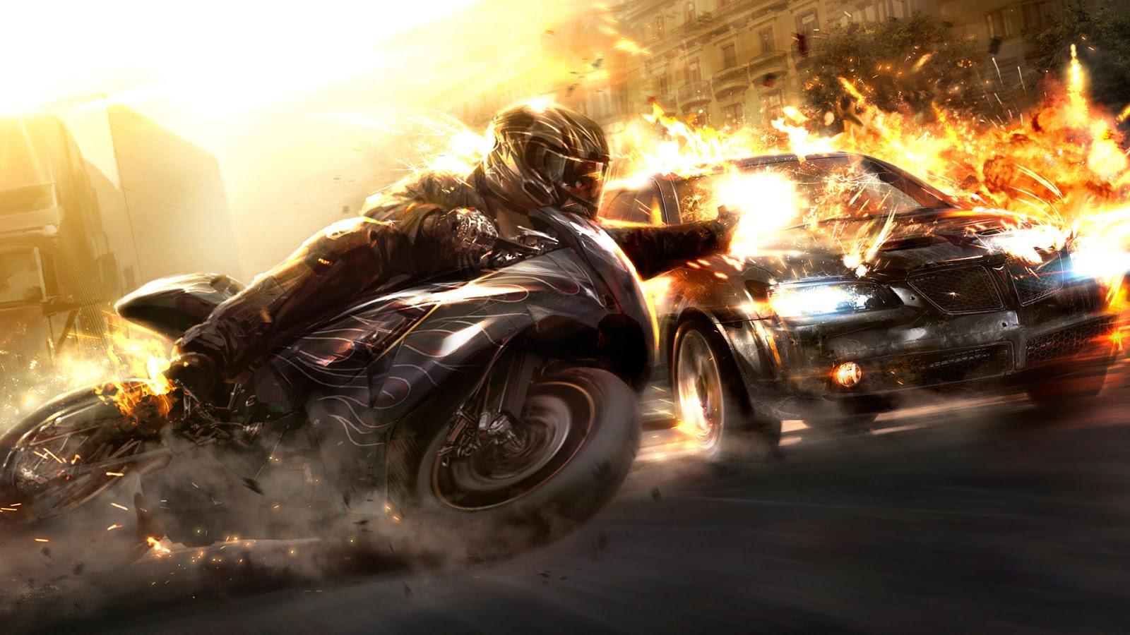 Bike And Speedy Car On Fire Hot Cars