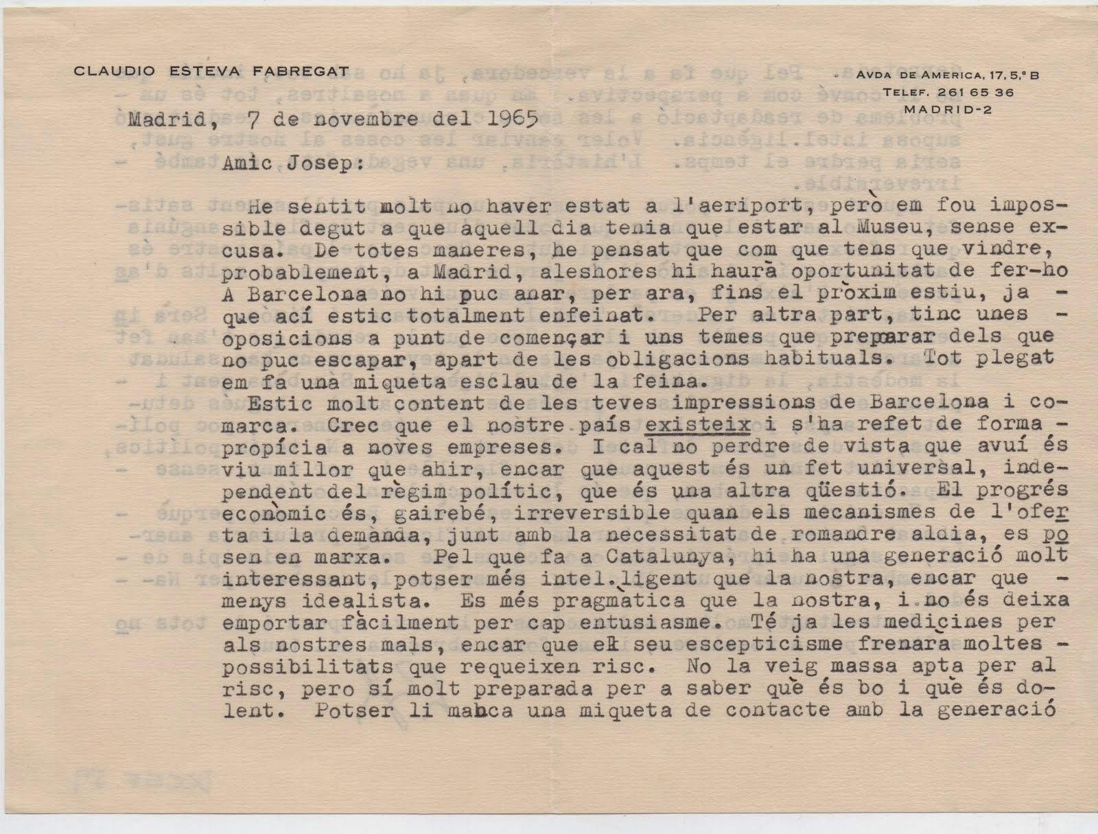 Carta a JSV de Claudi Esteva Fabregat, Madrid 1965