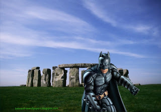 Desktop Wallpapers Batman Dark Knight Posing Fighting Position at Stonehenge Stone Monument wallpaper