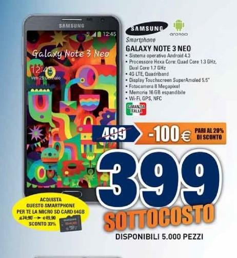 A prezzo sottocosto troviamo il phablet Galaxy Note 3 Neo a 399 euro garanzia Italia