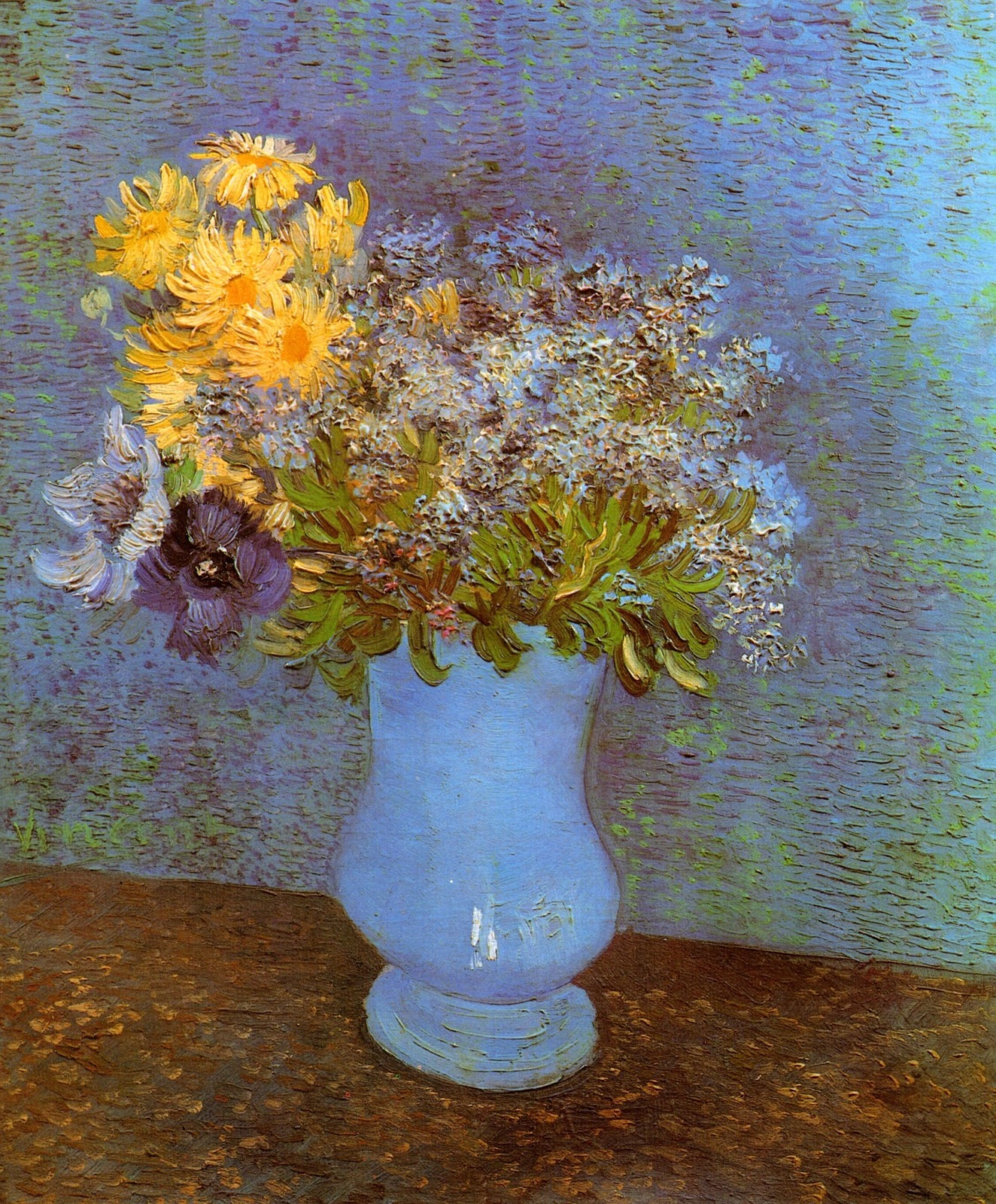 Art artists vincent van gogh flowers part 2 1887 vase with lilacs daisies and anemones oil on canvas 465 x 375 cm reviewsmspy